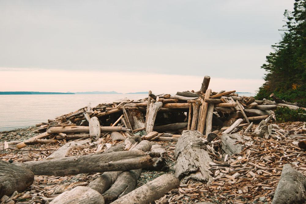 Driftwood Fort at Rebecca Spit Quadra Island