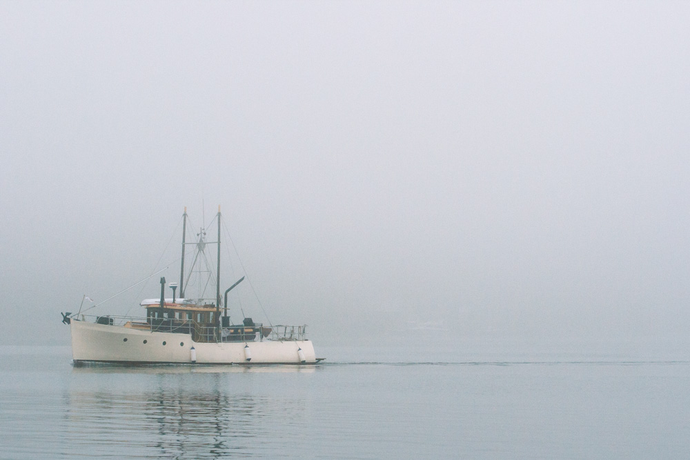 Fishing Boat in the Fog in Ucluelet Vancouver Island