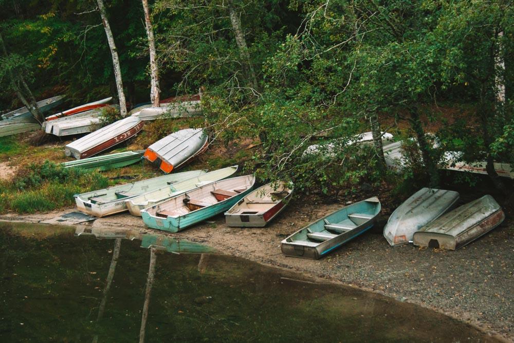Boats in Main Lakes Provincial Park Quadra Island British Columbia