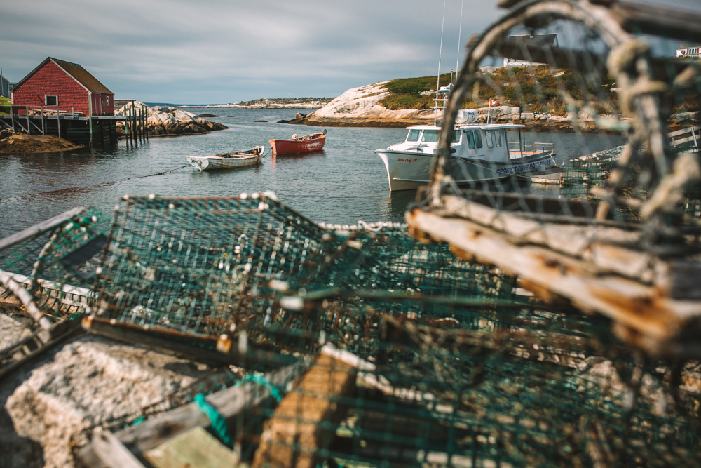 Lobster Traps and Boats in Peggy's Cove Nova Scotia